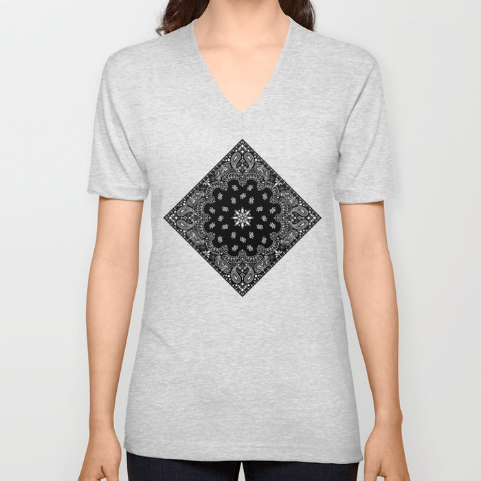 black and white bandana pattern Unisex V-Neck