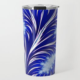 Abstract Blue Christmas Tree Branch with White Snowflakes Travel Mug