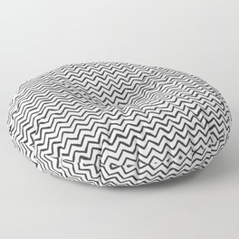 Black & White Hand Drawn ZigZag Pattern Floor Pillow