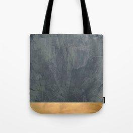 Slate Gray Stucco w Shiny Copper Metallic Trim - Faux Finishes - Rustic Glam Tote Bag
