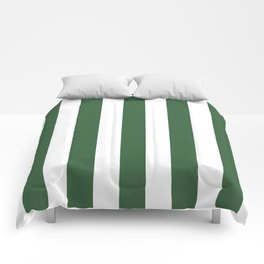 Hunter green - solid color - white vertical lines pattern Comforters