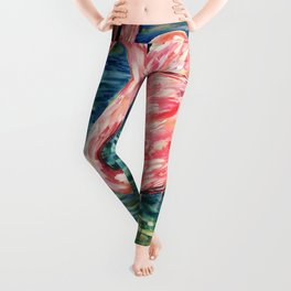 Flamingo Party Pink and Tropical Leggings