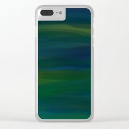 Navy, Peacock Green Abstract Clear iPhone Case