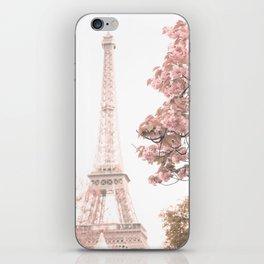 Paris nursery, Blush, Eiffel tower, cherry blossoms iPhone Skin