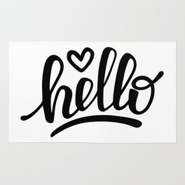 Hello brush lettering Rug