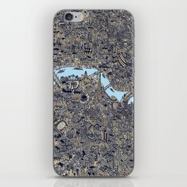 London color map city drawing illustration Thames iPhone Skin
