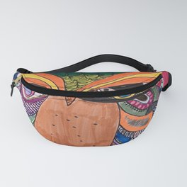 Patchwork Owl Drawing Fanny Pack