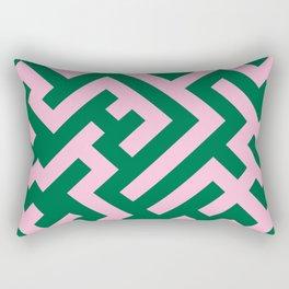 Cotton Candy Pink and Cadmium Green Diagonal Labyrinth Rectangular Pillow