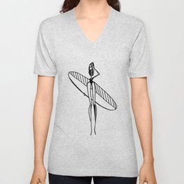 girl surfer Unisex V-Neck