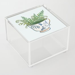 Fern in a Blue and White Tea Cup Acrylic Box