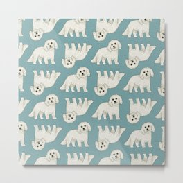 Bichon Frise Dog Pattern Green Metal Print