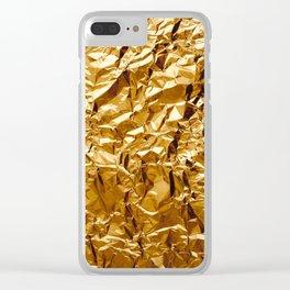 Crumpled Golden Foil Clear iPhone Case