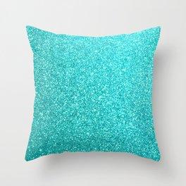 Aqua Blue Glitter Throw Pillow