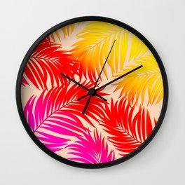 Palm Tree Fronds Multi Colour Vivid Hawaii Tropical Décor Wall Clock