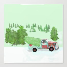rusty old truck with Christmas tree Canvas Print