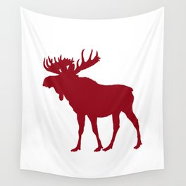 Moose: Rustic Red Wall Tapestry