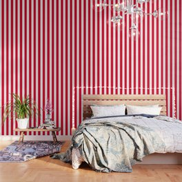 Cadmium red - solid color - white vertical lines pattern Wallpaper