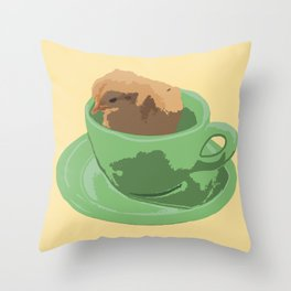 Baby Chick in Jadeite Cup Illustration Throw Pillow