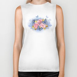 Three Pink Roses with Butterflies Biker Tank