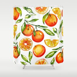 oranges watercolor tangerine fruit print Shower Curtain
