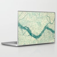 seoul Laptop & iPad Skins featuring Seoul Map Blue Vintage by City Art Posters