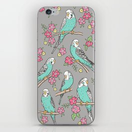 Budgie Birds With Blossom Flowers on Grey iPhone Skin