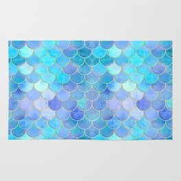 Aqua Pearlescent & Gold Mermaid Scale Pattern Rug