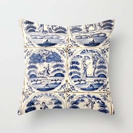 Dutch Delft Blue Tiles Throw Pillow