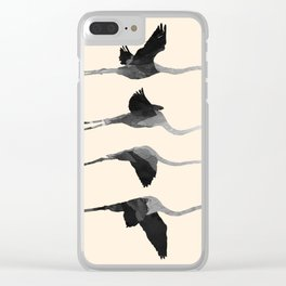Flaying Gray Flamingos Clear iPhone Case