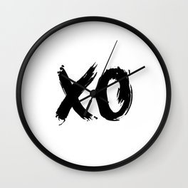 XO Hugs and Kisses black and white xoxo gift for her girlfriend bedroom art and home room wall decor Wall Clock
