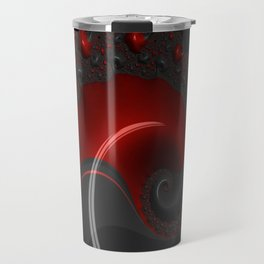 Black Red Goth Gothic Elegant Spiral Decorative Ornate Abstract Fractal Digital Graphic Art Design Travel Mug