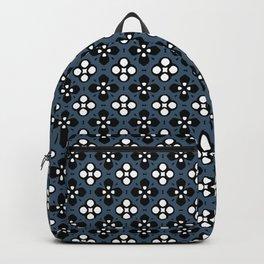 Dusky Blue Ornate Flowers Pattern Backpack