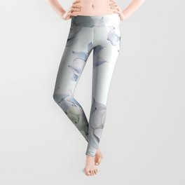 Blue Succulents Leggings