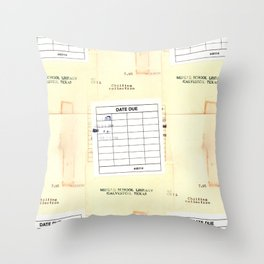Library Book Date Due Card Throw Pillow
