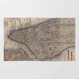 Vintage NYC and Brooklyn Map (1847) Rug
