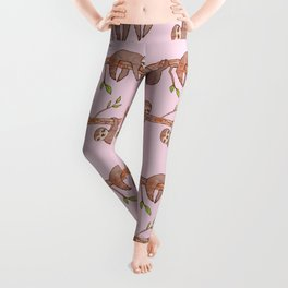 Lazy Baby Sloth Pattern in Pink Leggings