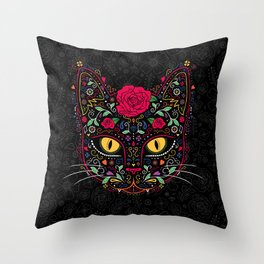 Day of the Dead Kitty Cat Sugar Skull Throw Pillow