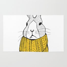 Rabbit in a yellow scarf Rug
