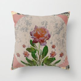 SHABBY CHIC CORAL ANTIQUE PINK ROSES Throw Pillow