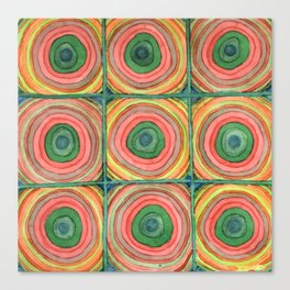 Grid with Psychedelic Rings Canvas Print