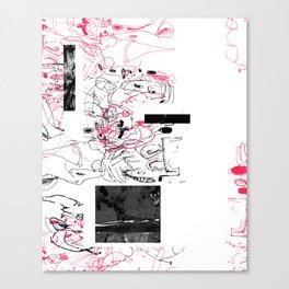 Black and red asymmetric scrawl Canvas Print