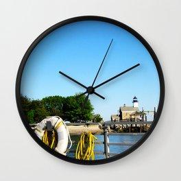 Sheffield Island Lighthouse, Norwalk, Connecticut, blue sky Wall Clock