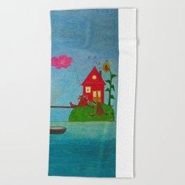 sunflower island Beach Towel
