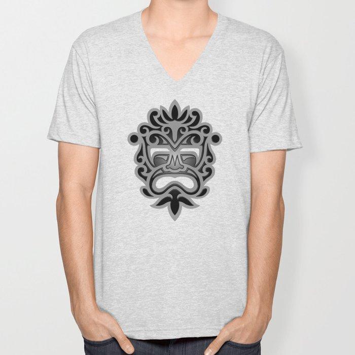 Stylish Gray and Black Mayan Mask Unisex V-Neck