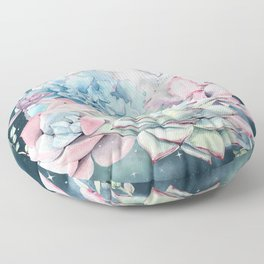 Beautiful Succulents Full Moon Teal Pink Floor Pillow