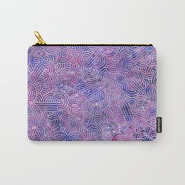 Purple and faux silver swirls doodles Carry-All Pouch