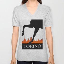 Vintage Torino or Turin Italy Travel Poster Unisex V-Neck