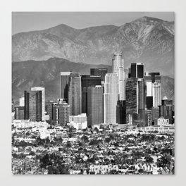 Los Angeles Skyline and Mountain Landscape - Square 1x1 Monochrome Canvas Print