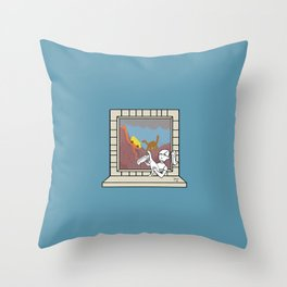Plenty of imagination: the dinosaur's girl. Throw Pillow