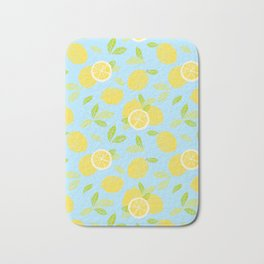 Bright And Sunny And Stamped Lemon Citrus Pattern Bath Mat